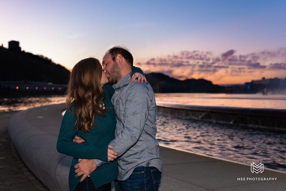 Engagement session at Point State Park at sunset