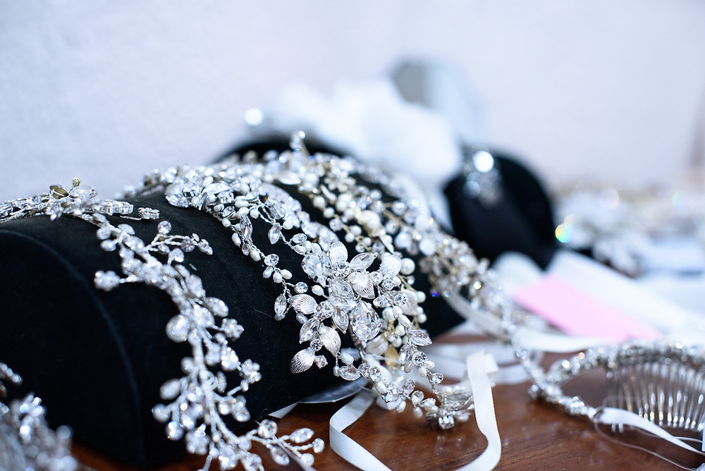 Bridal headpieces at Babette's Gowns in Bridgeville, PA.