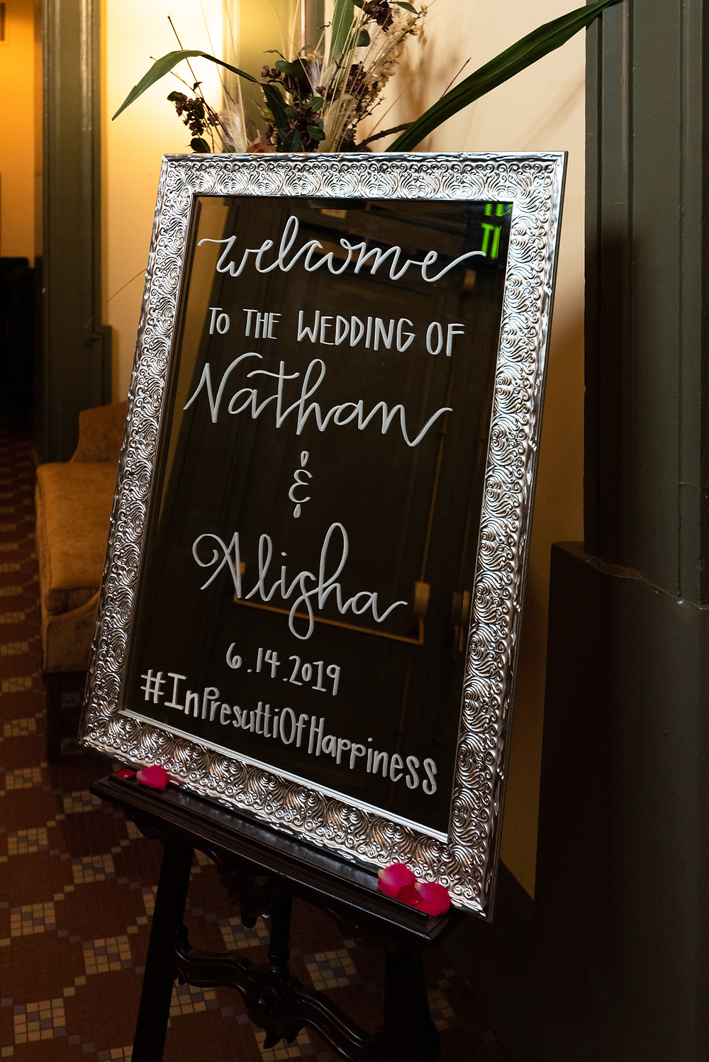 Wedding welcome sign at the Priory in Pittsburgh