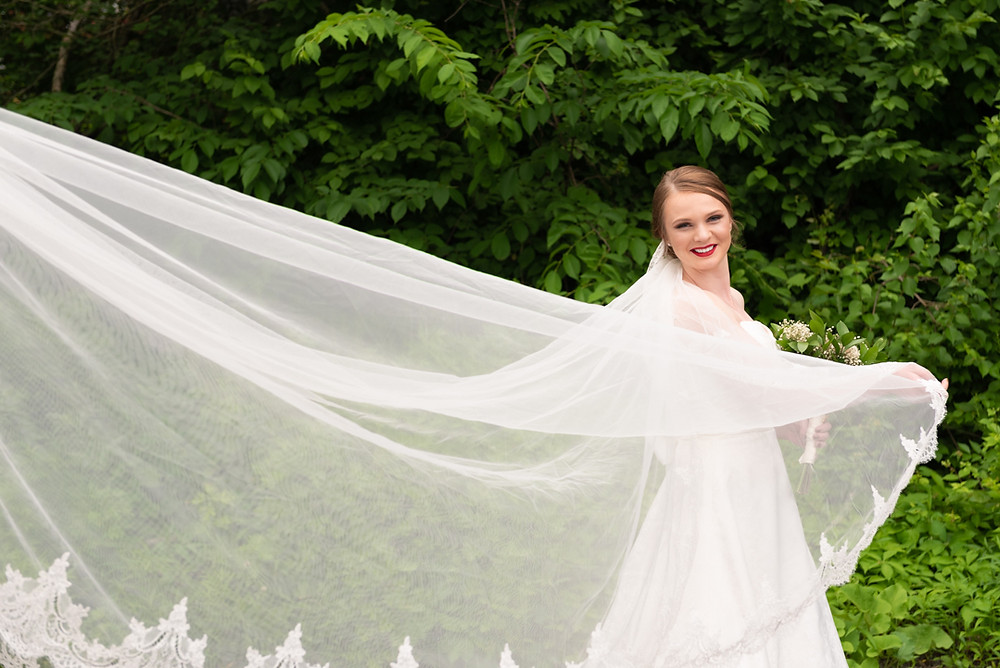 Bride's veil flying in the wind