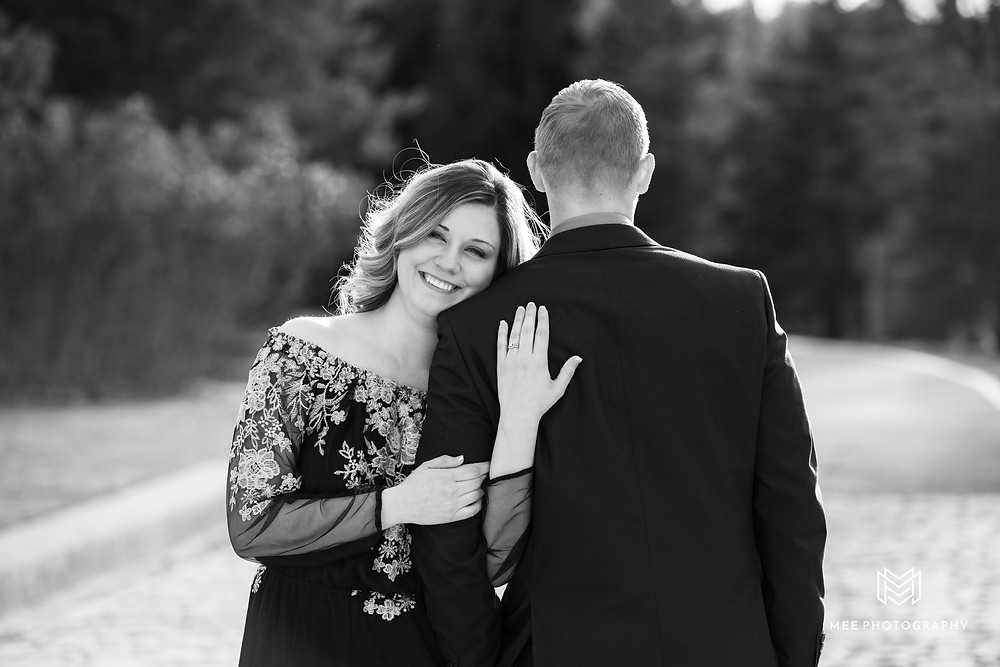 Engagement pose idea with guy looking away from camera