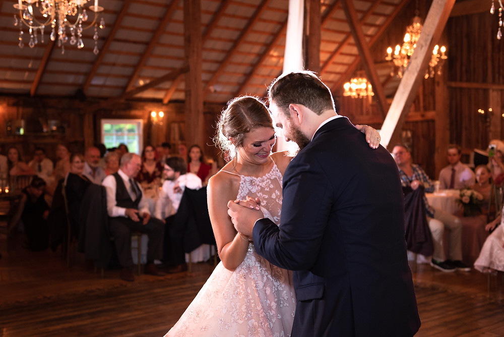 Bride and groom first dance as husband and wife