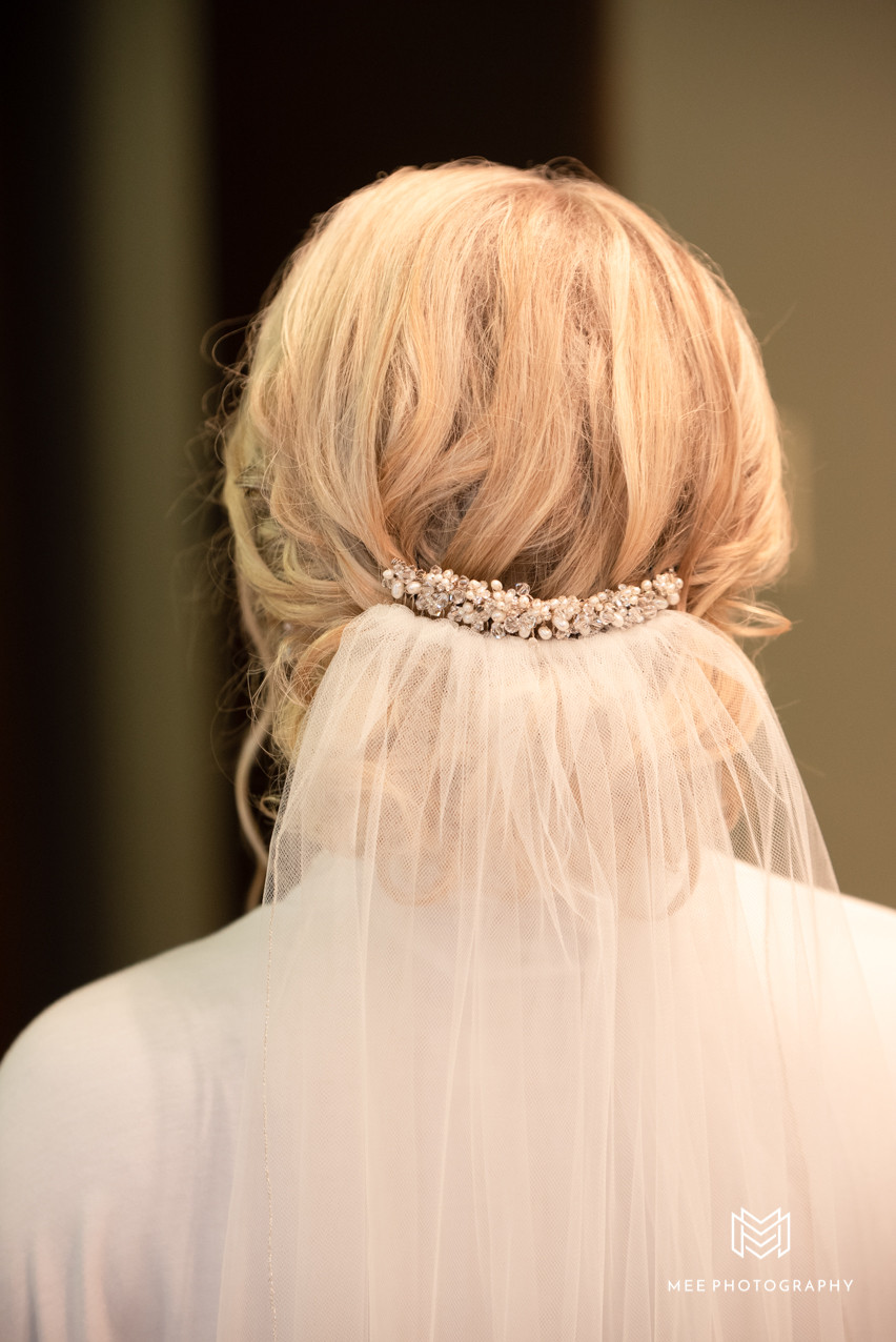 Bride's hair and veil with crystal comb