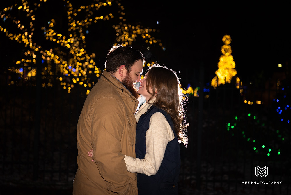 Engagement session at night with Christmas lights in Pittsburgh