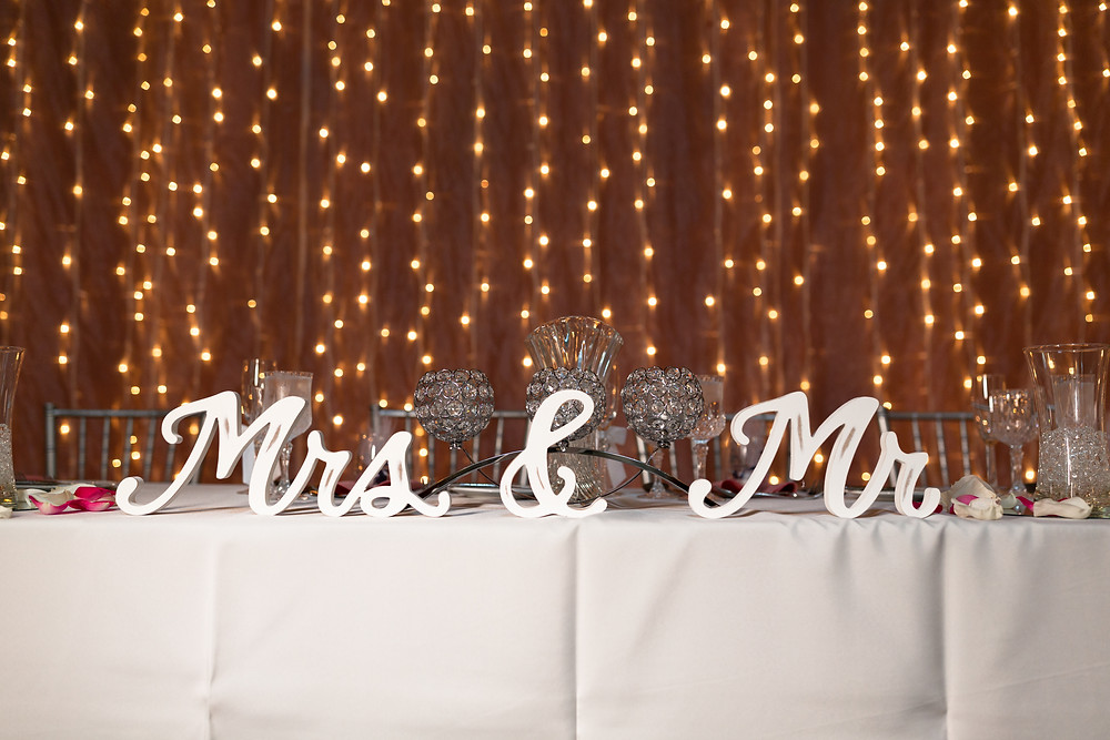 Mr and Mrs signs on the head table at The Priory