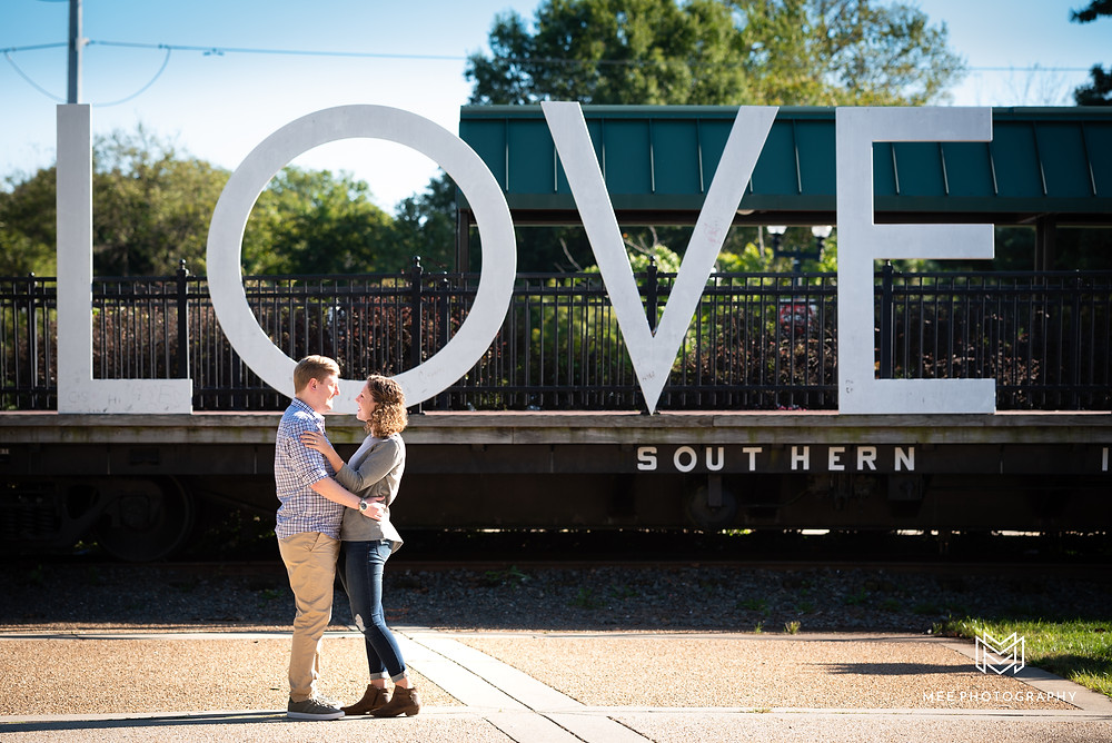 "Manassas, VA engagement session in front of the ""LOVE"" sign"