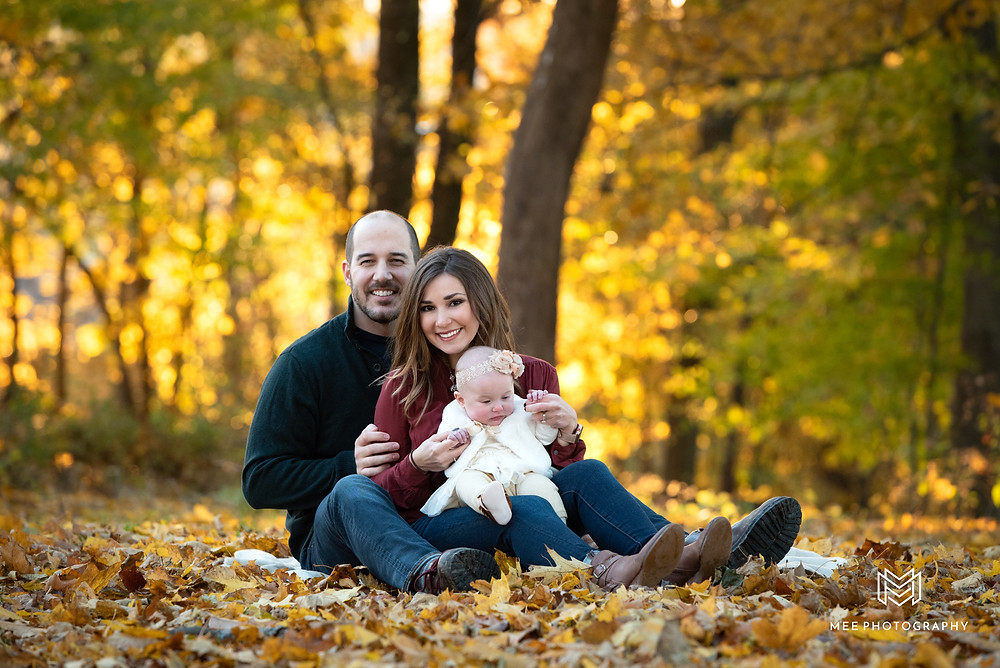 Family sitting on blanket during their Pittsburgh fall family session