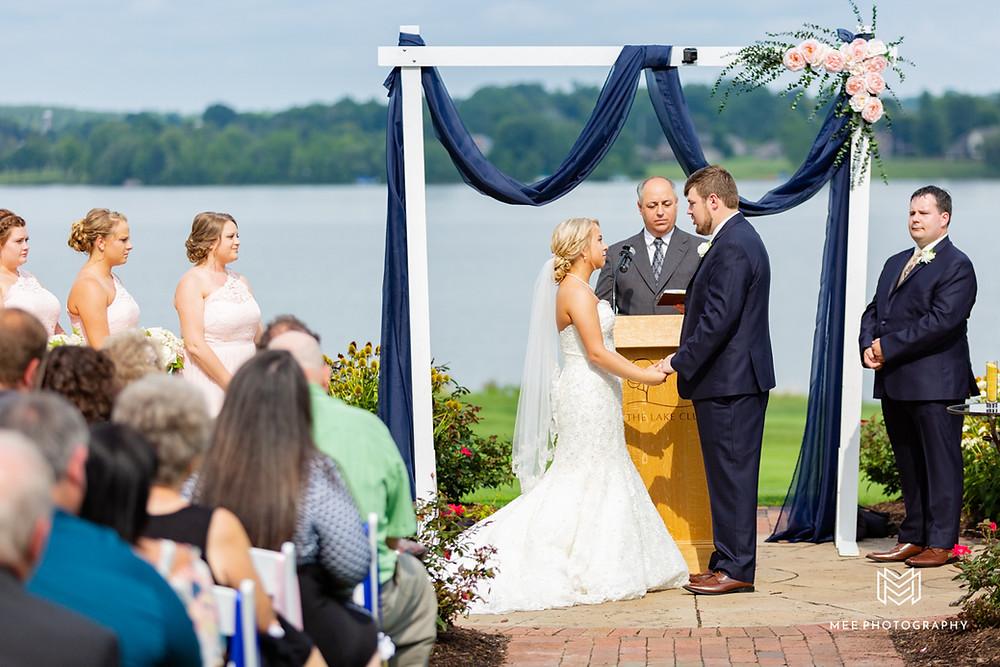 Wedding ceremony in front of Evans Lake in Ohio