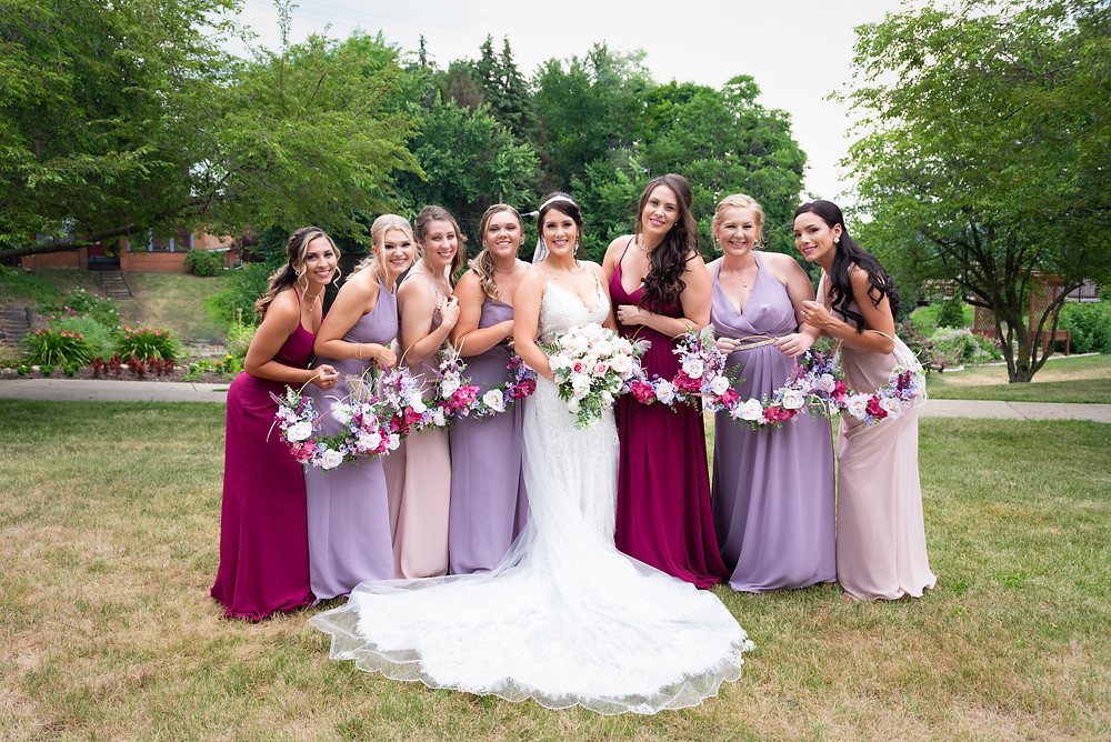 Bridesmaids at the Beaver Station Cultural and Event Center for a wedding