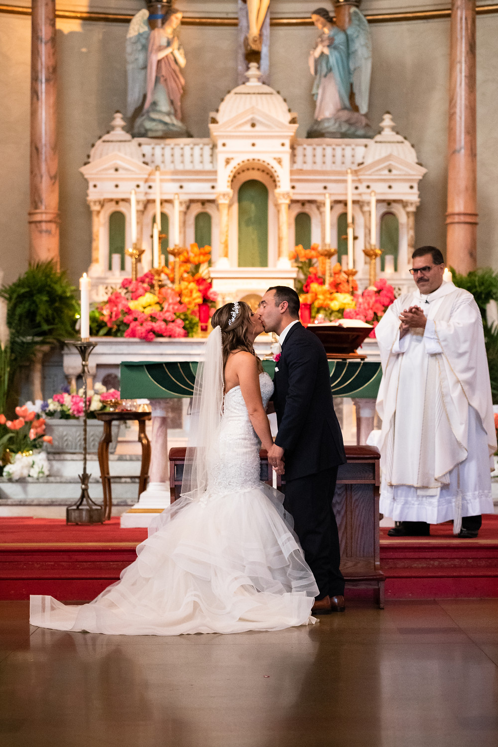 First kiss as husband and wife at St. Stanislaus Kostka in Pittsburgh