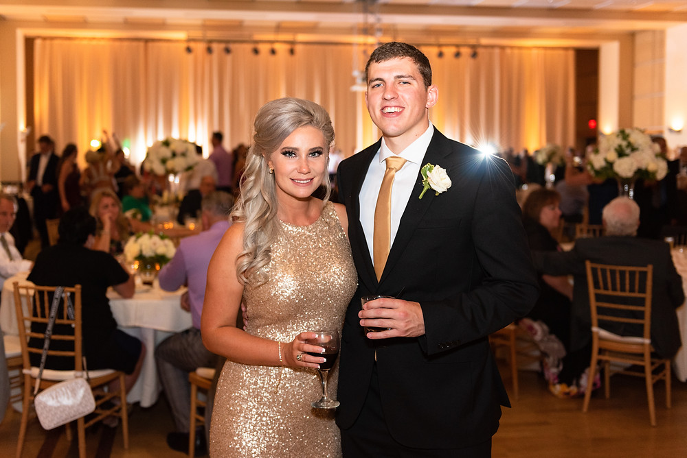 Couples photo during wedding reception at the Circuit Center