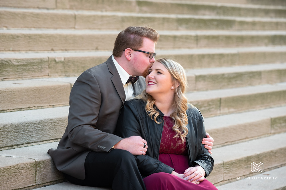 Engagement session on steps in Oakland Pittsburgh