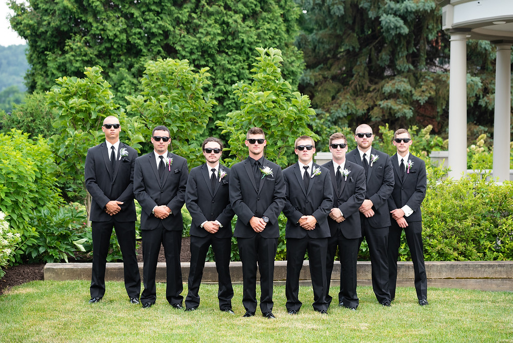 Groom and groomsmen group photo in Beaver, PA