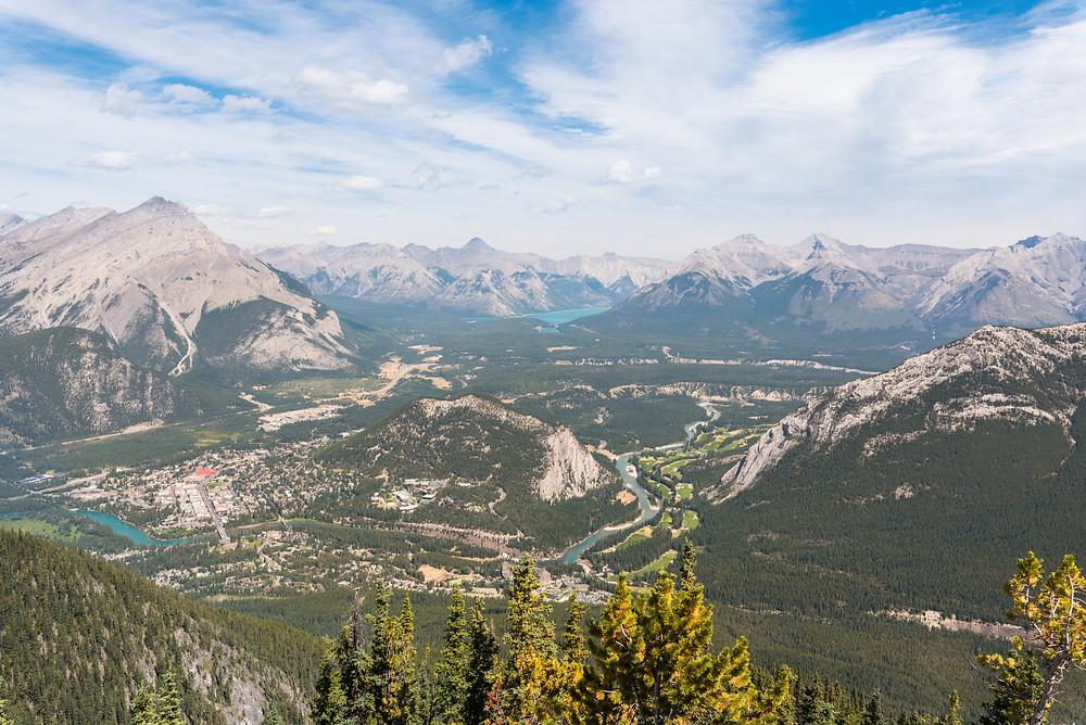 A sky view of Banff National Park in Canada. Photo taken from overloook.