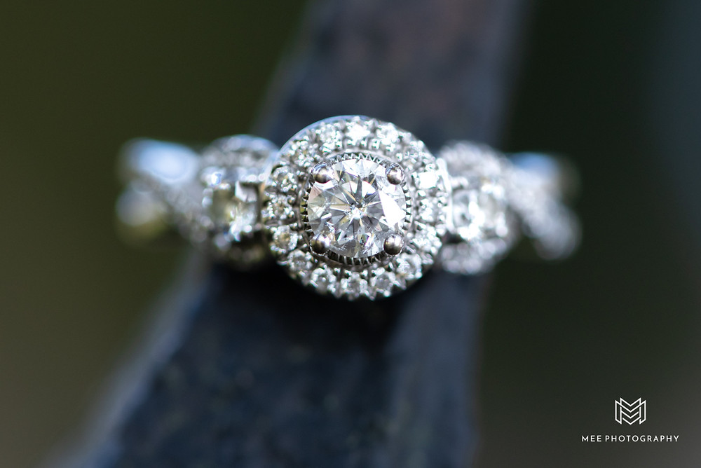 Round diamond engagement ring with halo taken during this Fairmont, WV engagement session