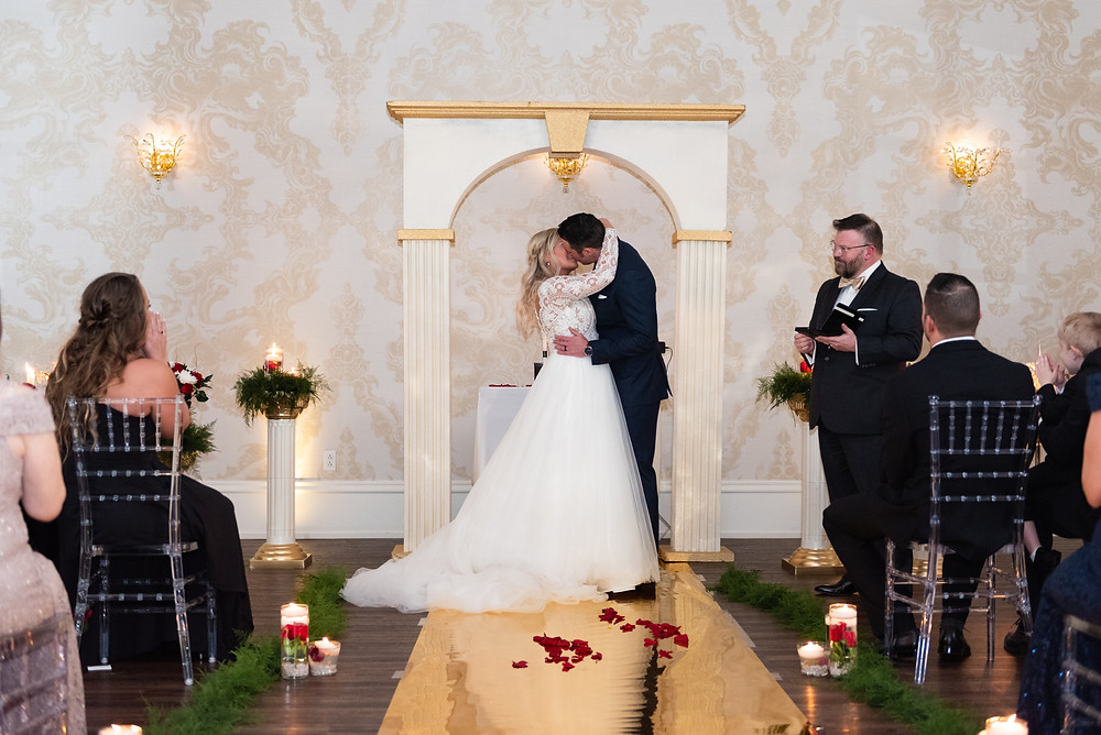 First kiss as husband and wife at Alla Famiglia in Pittsburgh
