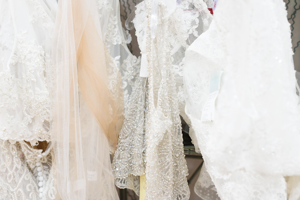 Beaded lace veils at Babette's Gowns in Bridgeville, PA.