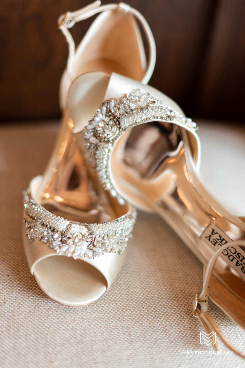 The Bride's Badgley Mischka shoes at the Lake Club in Ohio