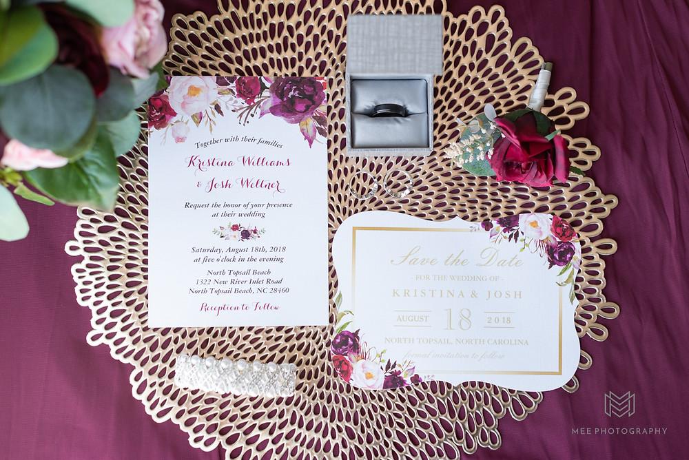 Burgundy wedding invitation suite flat lay