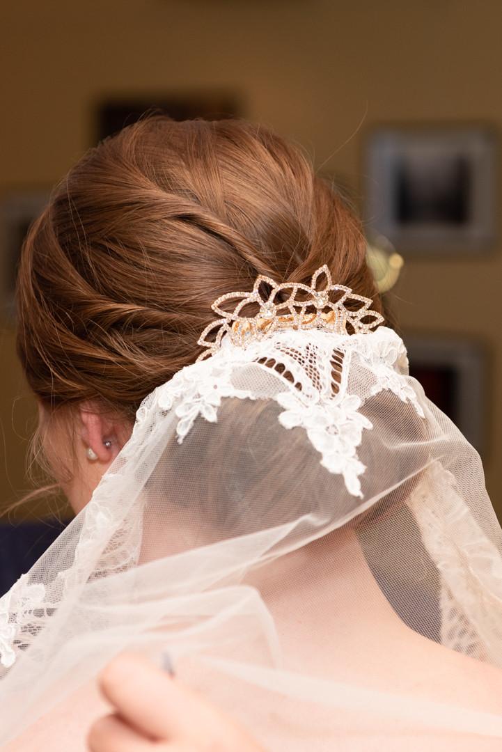 Bride's hair with veil