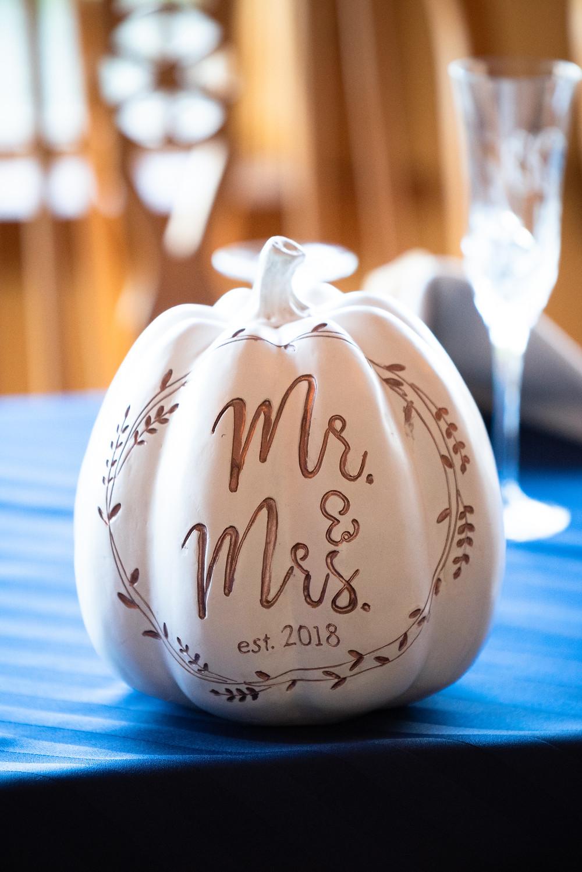 White fall pumpkin wedding decorations