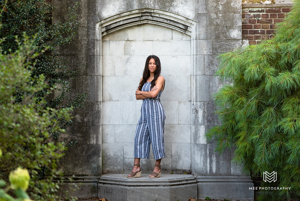 Senior girl photography at Mellon park; Girl wearing a gray striped jumpsuit