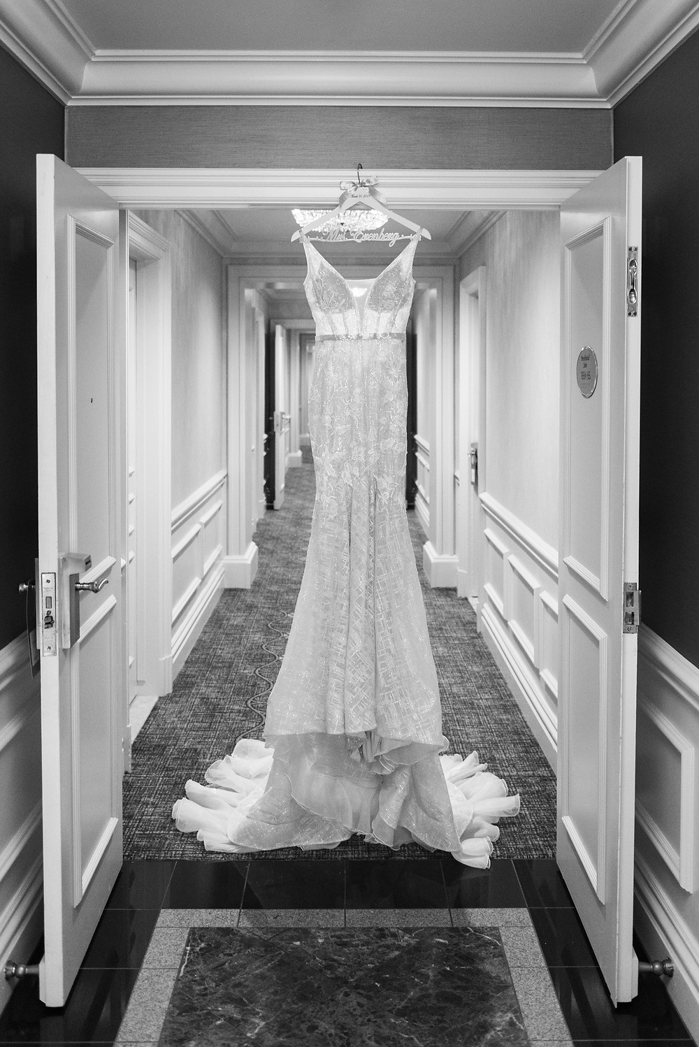 Berta dress hanging in the presidential suite of the Omni William Penn