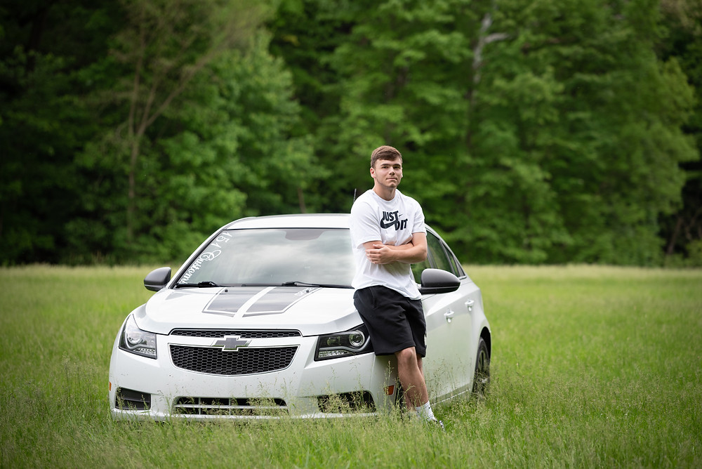 Guy senior session with his car at Tomlinson Run State Park