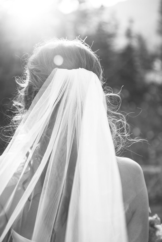 Bridal hair and veil