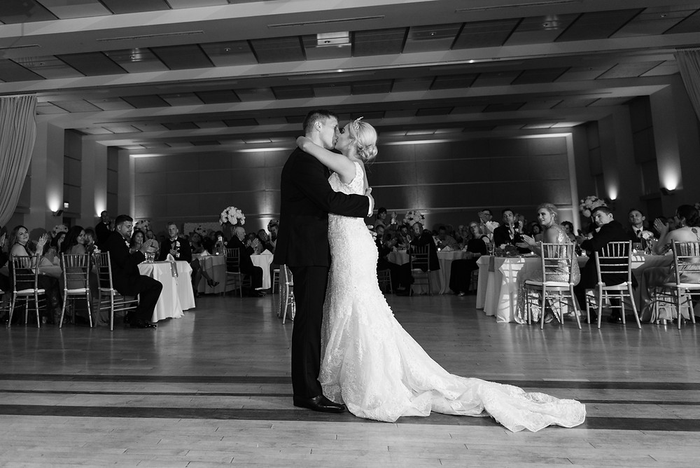 Bride and groom first dance at the Circuit Center