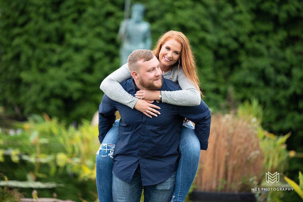 Piggy-back ride during engagement session
