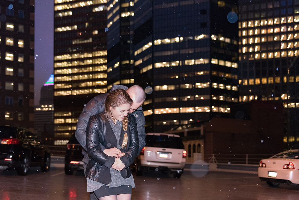 Pittsburgh engagement session in the snow at night