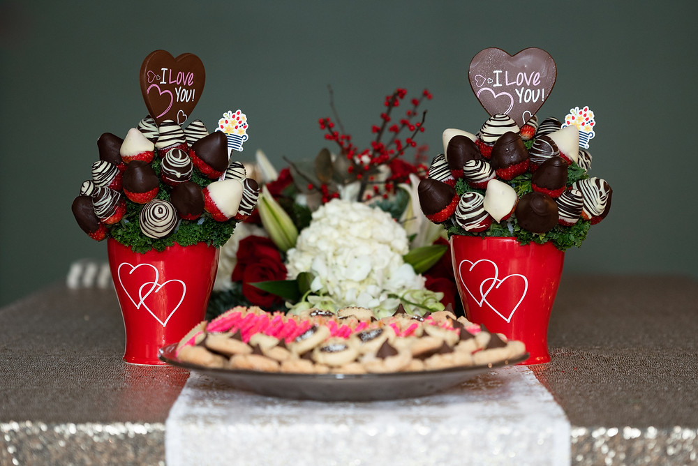 I love you chocolate covered strawberries and cookies at this Pittsburgh bridal shower