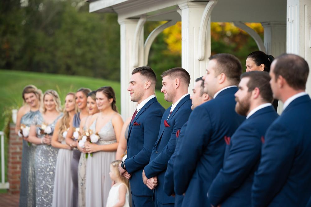 Groom watching his bride walk down the aisle at Morningside Inn