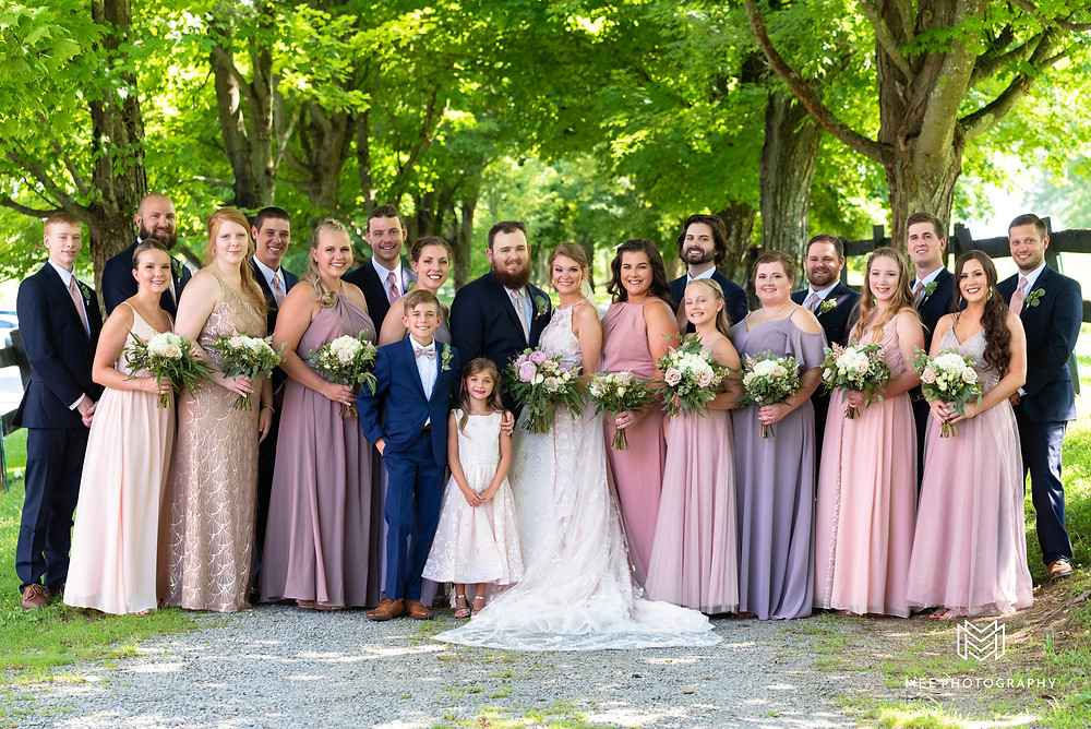 Wedding party photograph at Chanteclaire Farm in Friendsville, Maryland