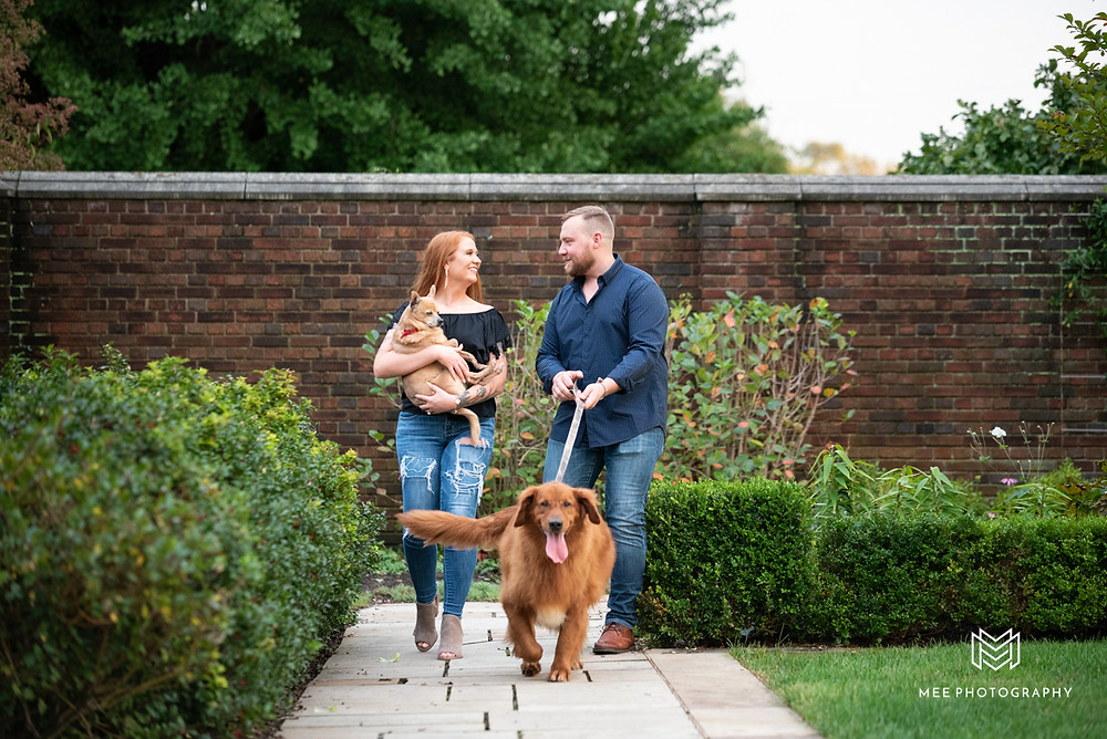 Mellon Park engagement session with dogs