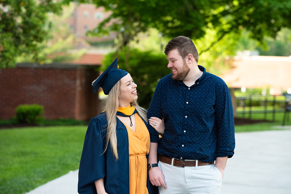 Couples graduation photos on the campus of WVU