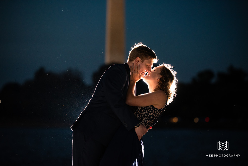 Washington, DC engagement session at night with the National Monument in the background