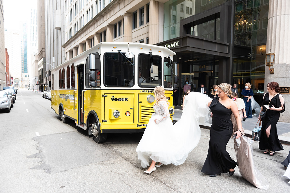 Bride getting on the Pittsburgh Trolley in Pittsburgh