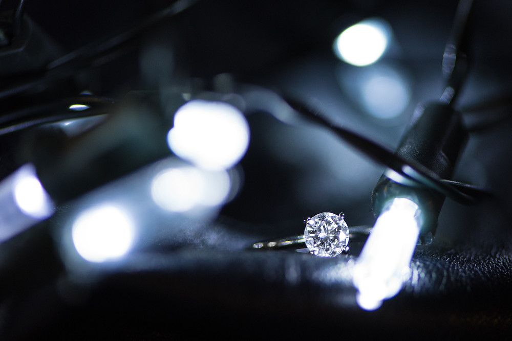 A photograph of the engagement ring during an engagement shoot in Pittsburgh.