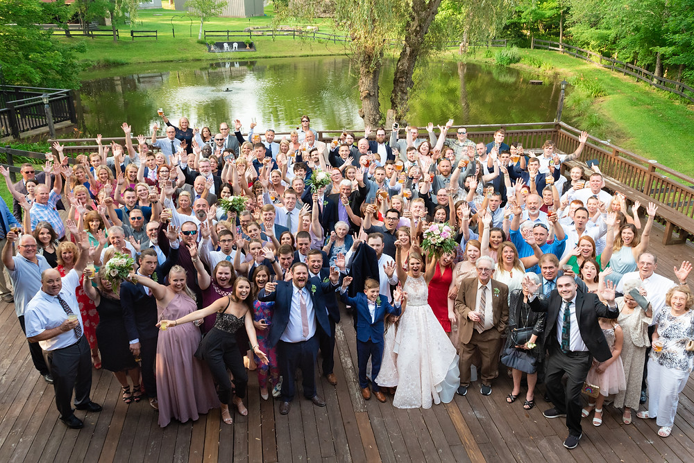 Photograph of all of the wedding guests at Chanteclaire Farm