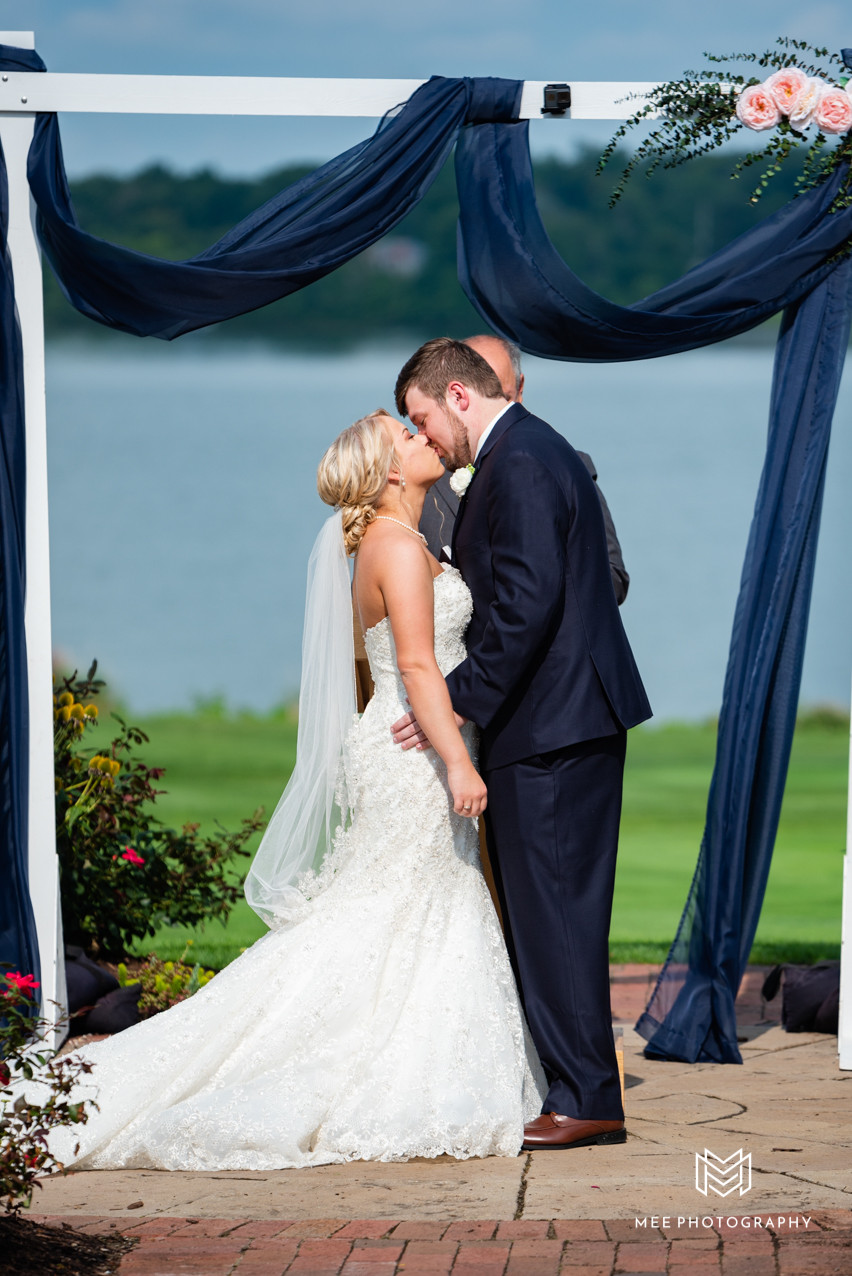 First kiss as husband and wife at The Lake Club in Ohio.