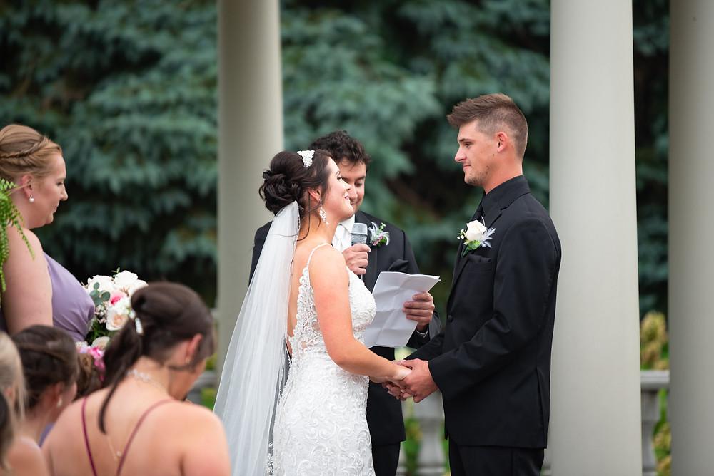 July wedding ceremony under a gazebo in Beaver, PA