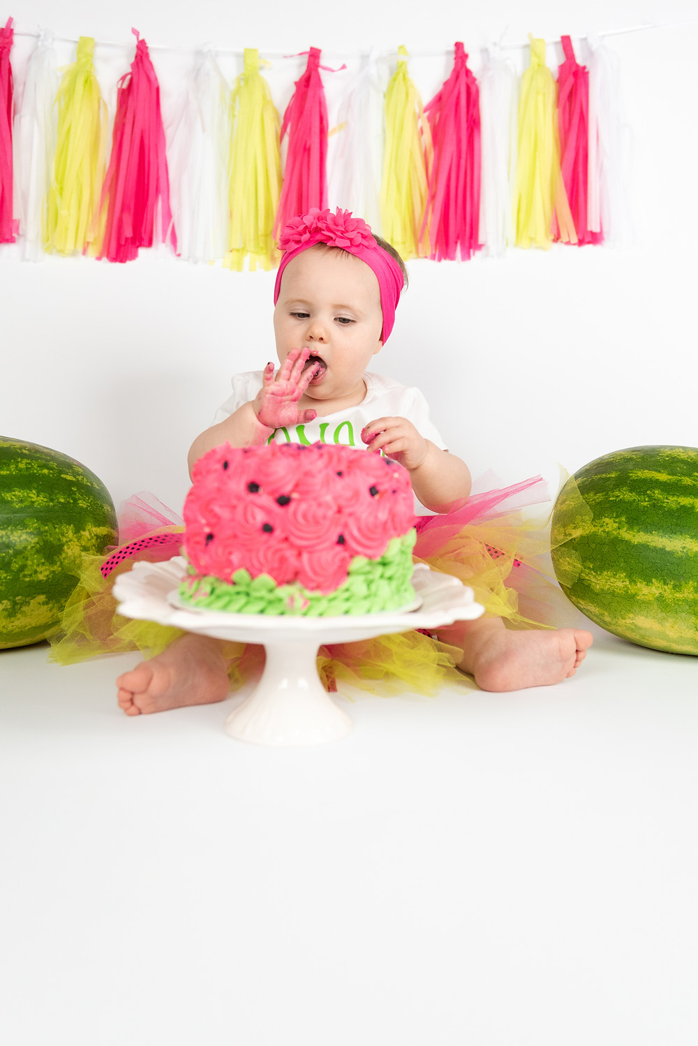 Watermelon themed cake smash photo session