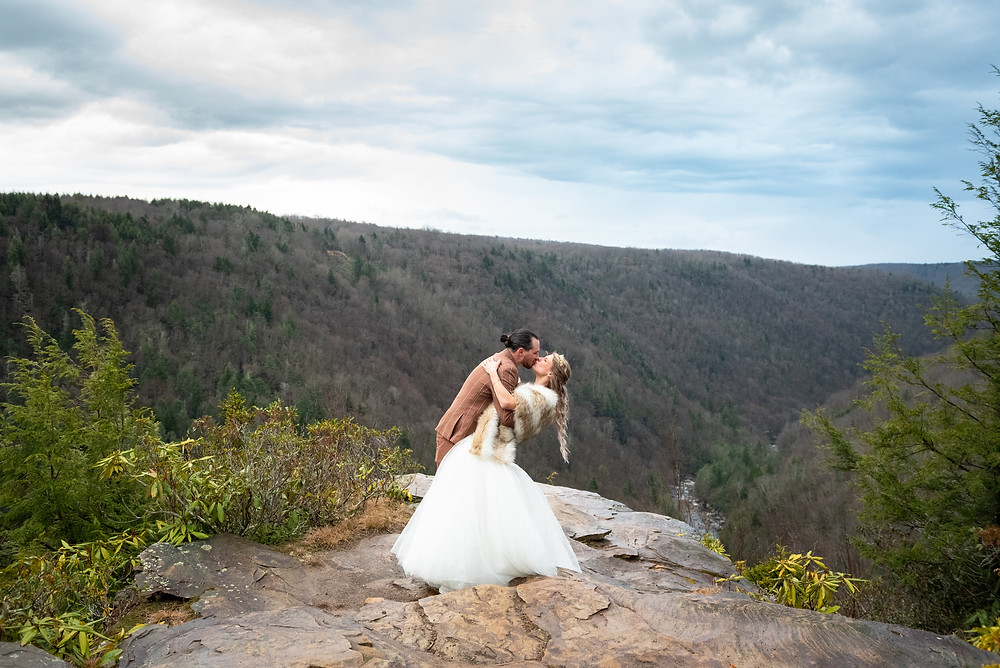 Elopement at the overlook in the mountains of Blackwater Falls State Park