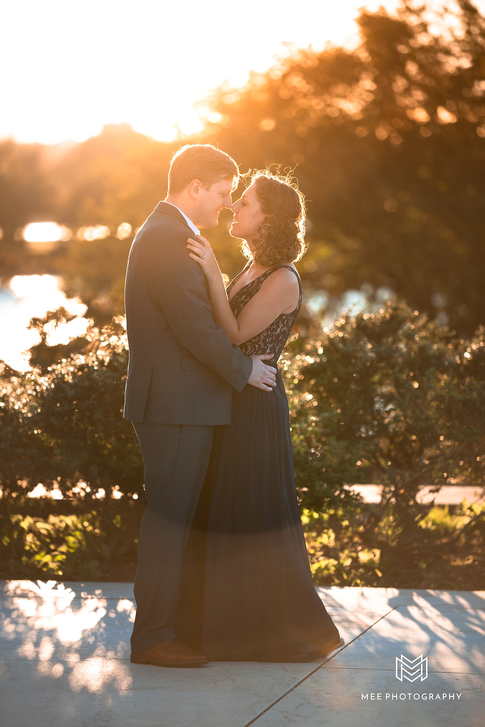 District of Columbia sunset engagement session with the couple dressed in formal attire