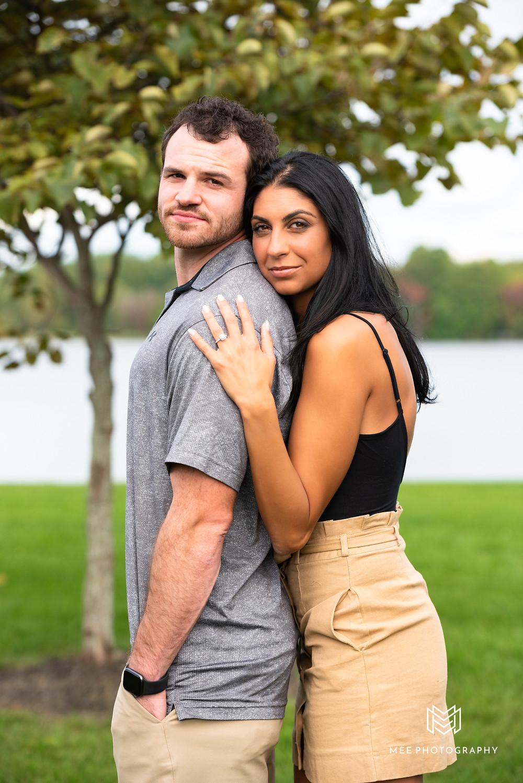 Newly engaged couple photoshoot in Columbiana Ohio at a lake