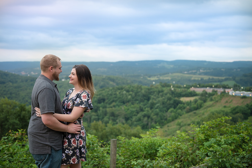 An engagement session at Dorseys Knob Park overlooking the rolling hills of West Virginia.