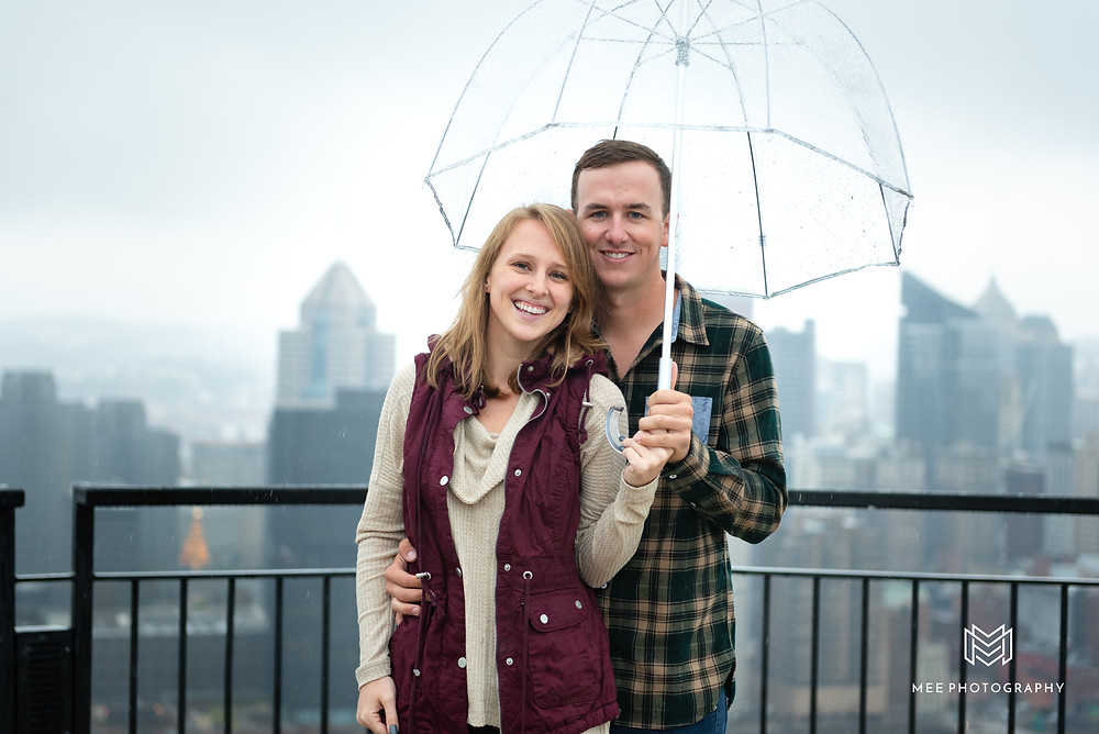 Mount Washington engagement photography session in the rain