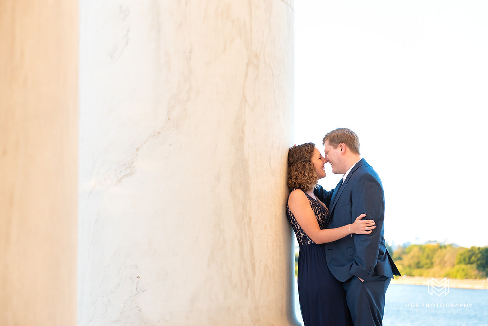 Engagement session with the national monument and Tidal Basin in the background
